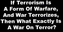 if terrorism is a form of warfare and war terrorizes then exactly is a war on terror?